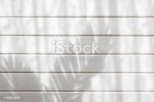 Palm leaves shadow and wood plank wall texture background