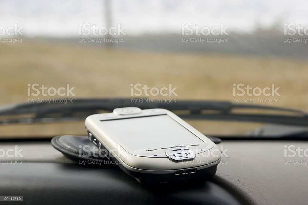 PDA Palm on the Deck of a Car royalty-free stock photo