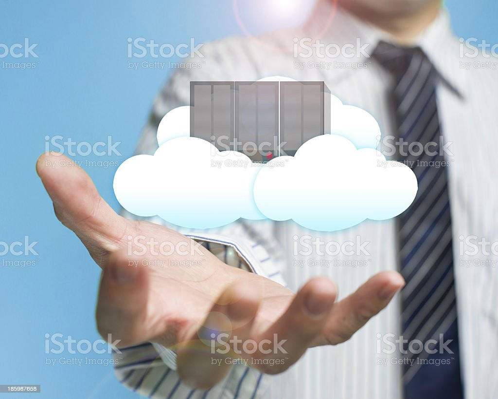 palm opening businessman with cloud computing server royalty-free stock photo