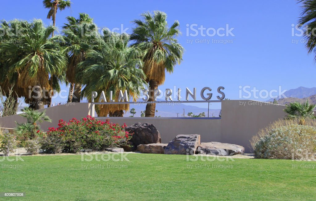 Palm Springs California City Sign West stock photo