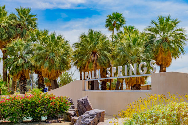 Palm Springs sign at Palm Springs California stock photo