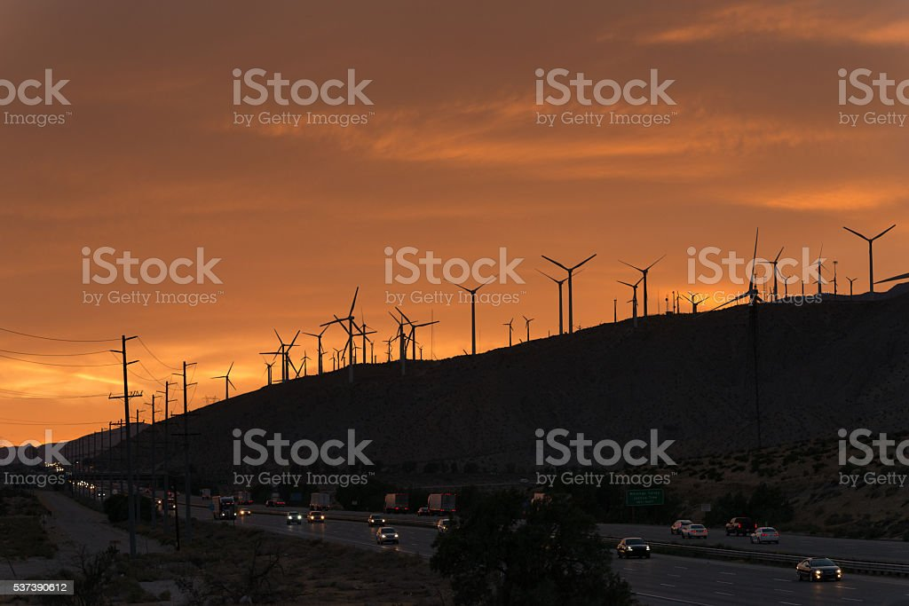 Palm Springs Wind Turbines stock photo