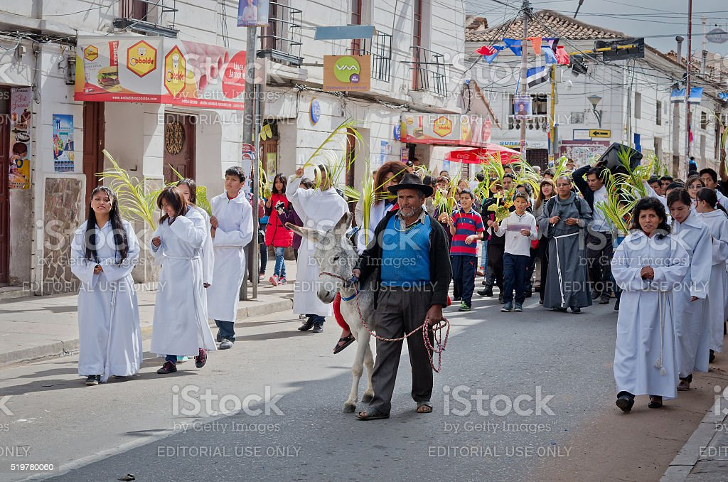 Palm Sunday  in Sucre, Bolivia stock photo