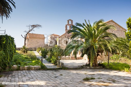 istock Palm tree on the streets of Old Town of Budva, 614725402