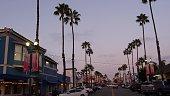 istock Palm trees and garlands, pacific coast tropical beach resort. Evening twilight city California USA. 1294672862