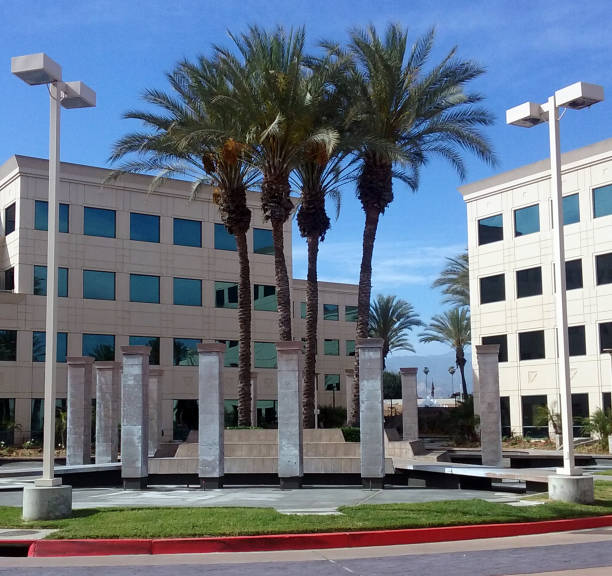 Palm Trees and Nice Architecture in West Covina stock photo