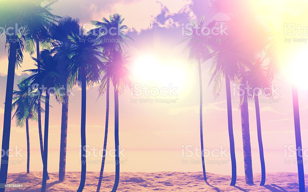 3D palm trees and ocean with vintage effect stock photo