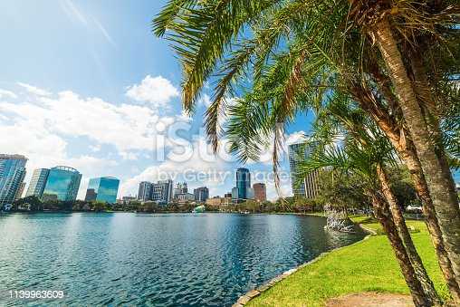 Palm trees and skyscrapers in Lake Eola park in Orlando. Florida, USA