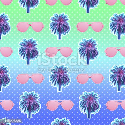 1125575680 istock photo palm trees and sunglasses on gradient background with dots. Modern pattern. 1142226330
