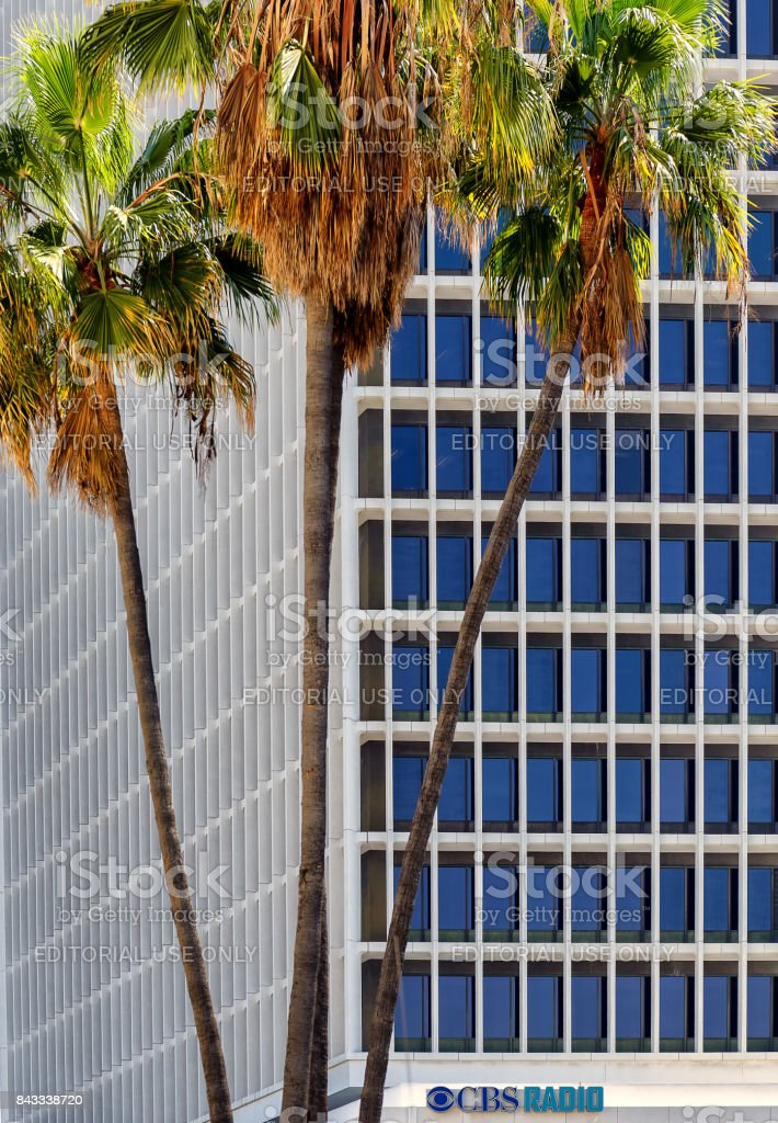 Palm trees at the entrance of CBS radio building in Los Angeles, California stock photo