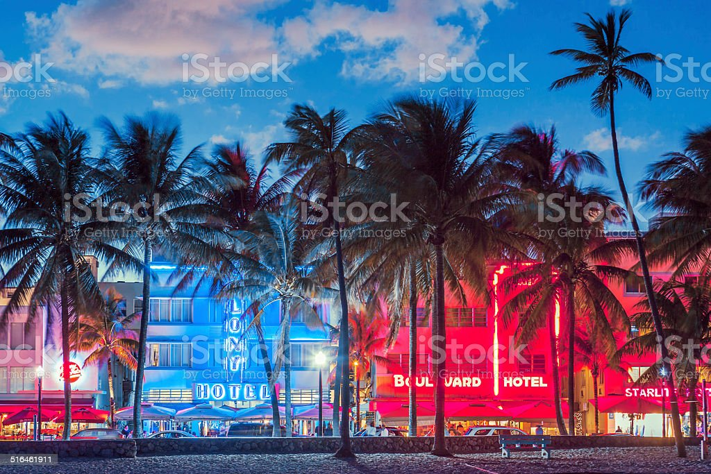 Palm trees line Ocean Drive. stock photo