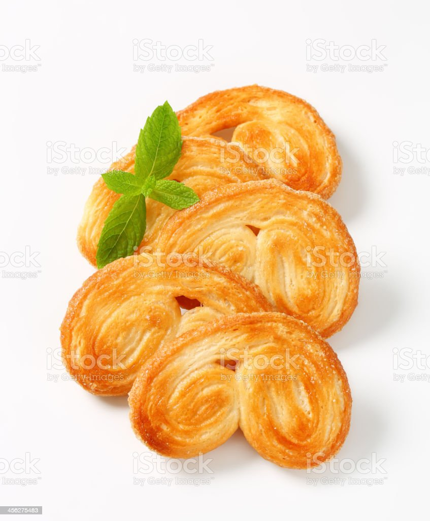 Palmiers - puff pastry cookies stock photo