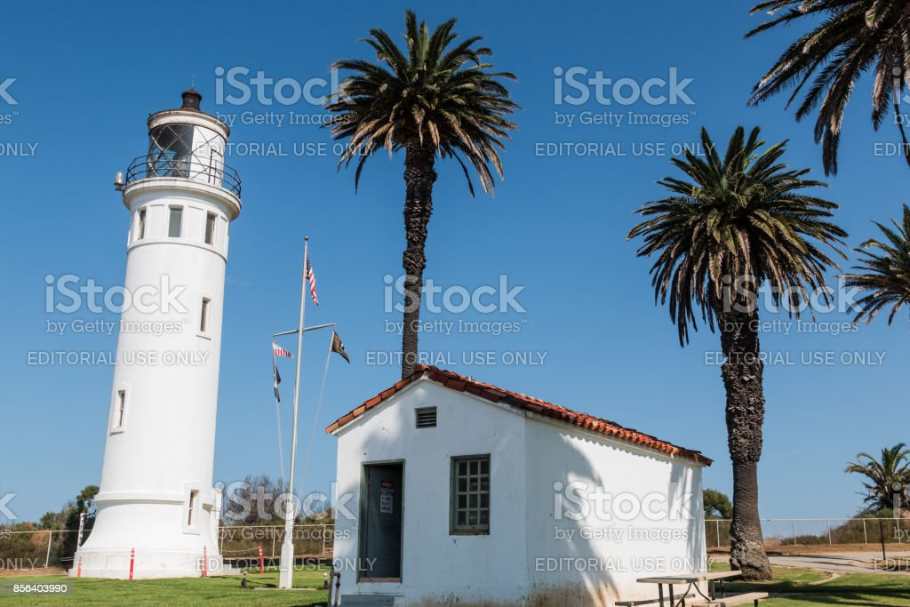 Palm Trees Surround Point Vicente Lighthouse stock photo