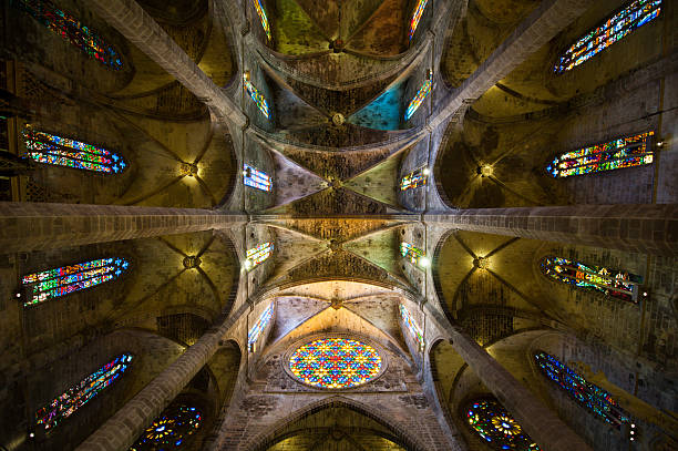 palma cathedral imense ceilling - rose window stock pictures, royalty-free photos & images