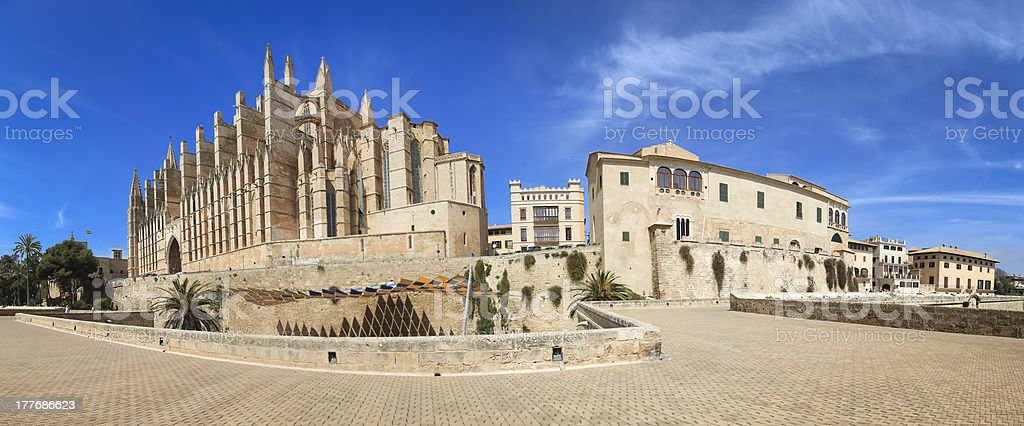 Palma Cathedral Old City Walls Majorca royalty-free stock photo