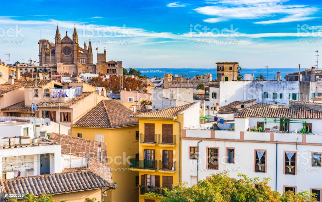 Palma de Majorca, historic city center with view of the Cathedral stock photo