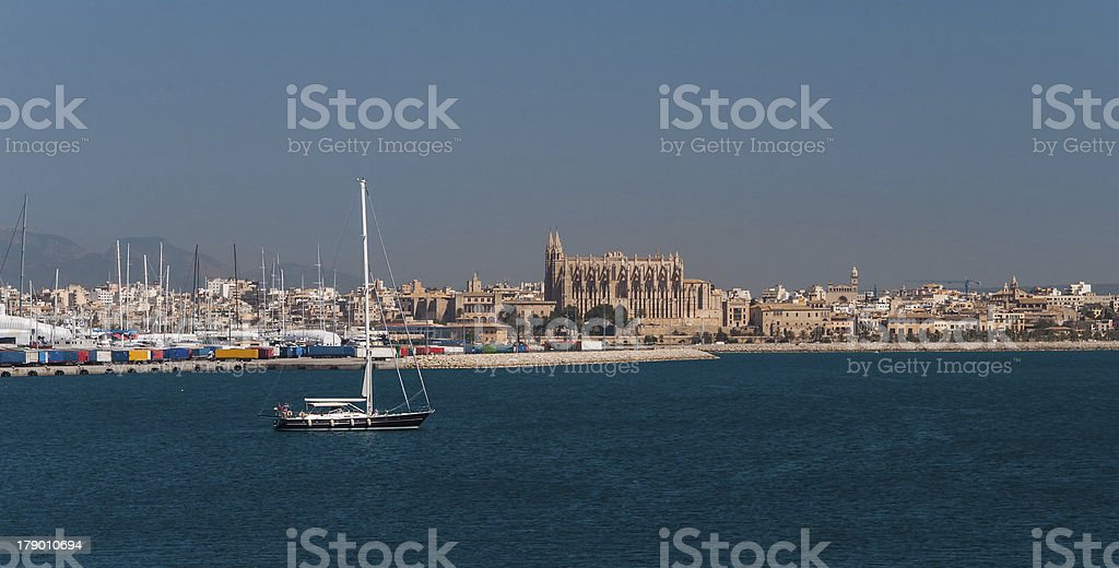 Palma de majorca panorama, viewed from the sea royalty-free stock photo