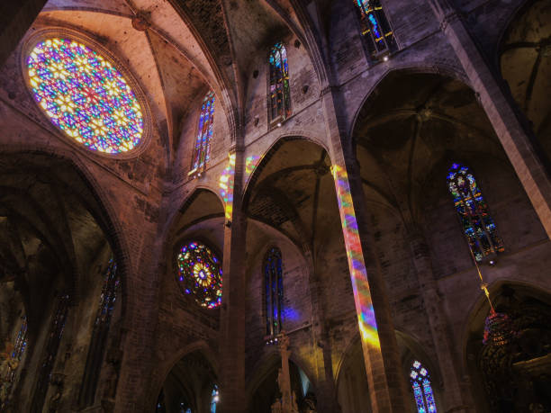 palma de mallorca, spain. the interior of the gothic cathedral of santa maria and its rose window - rose window stock pictures, royalty-free photos & images