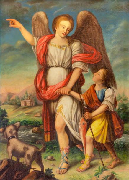 Palma de Mallorca-a pintura de Archangel Raphael e Tobias na igreja Iglesia de Santa Eulalia por artista desconhecido. - foto de acervo