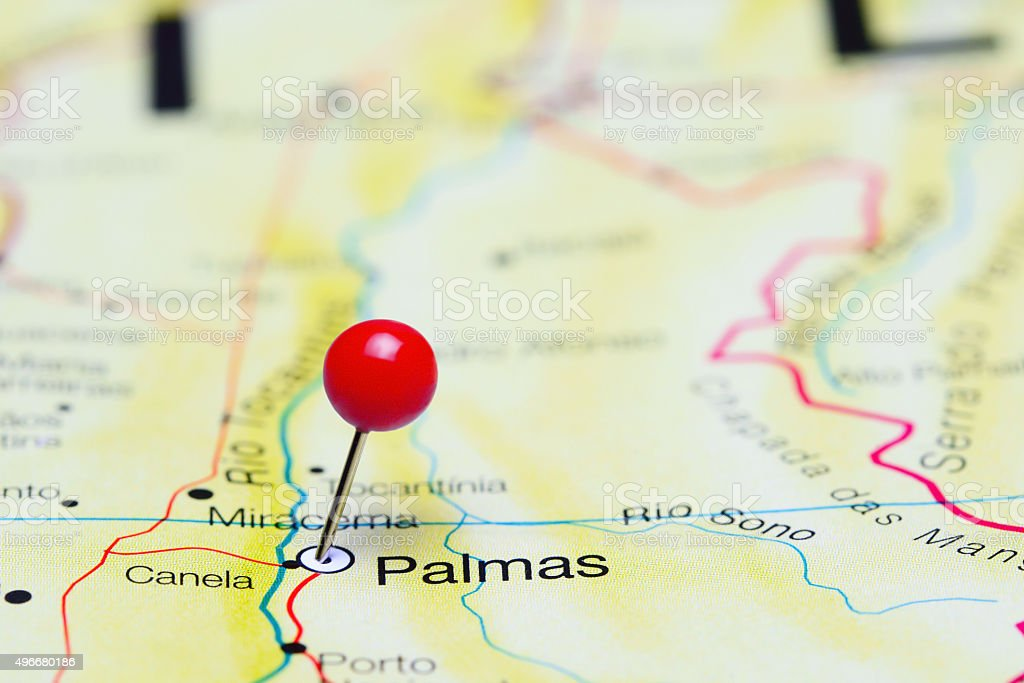 Palmas pinned on a map of Brazil stock photo