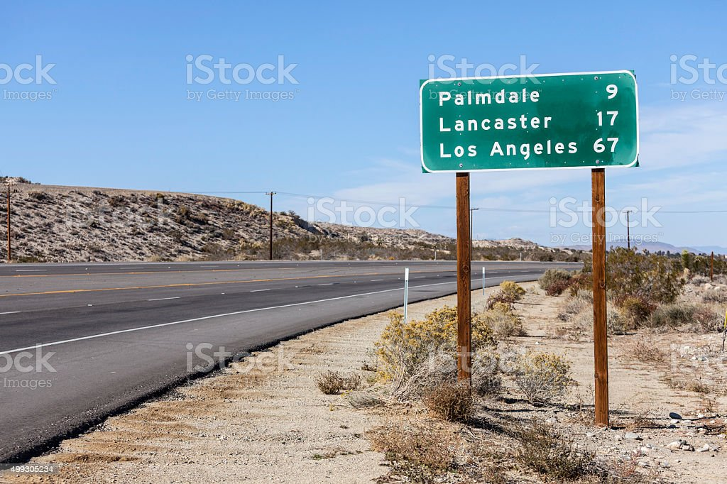Palmdale, Lancaster and Los Angeles Highway Sign stock photo