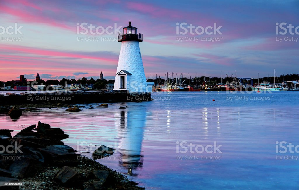Palmer Island Lighthouse, New Bedford, Massachusetts stock photo