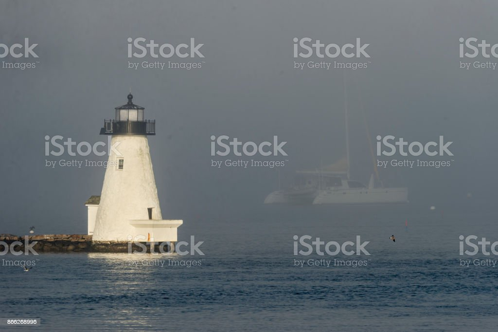 Palmer's Island Lighthouse in fog stock photo