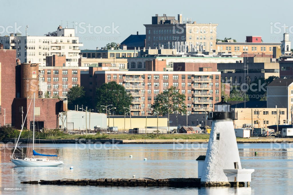 Palmer's Island lighthouse New Bedford waterfront stock photo