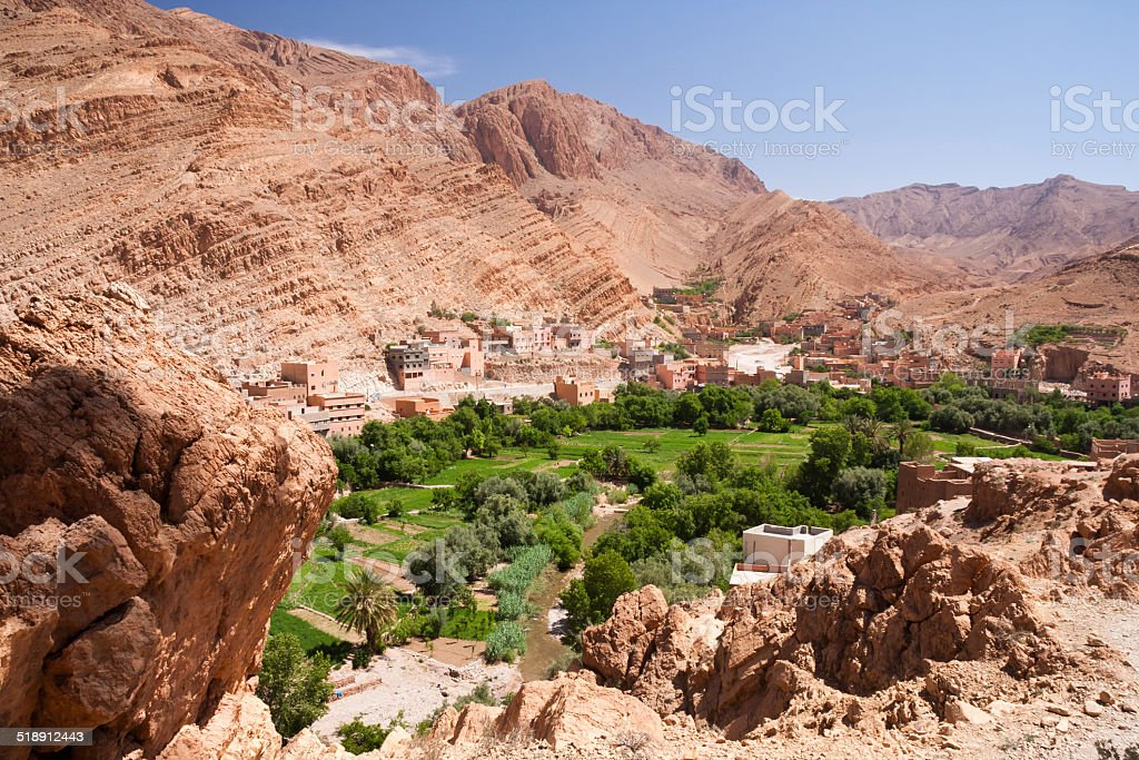 Palmery in Todra Gorge, Morocco stock photo