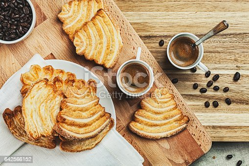 Palmier pastries with coffee