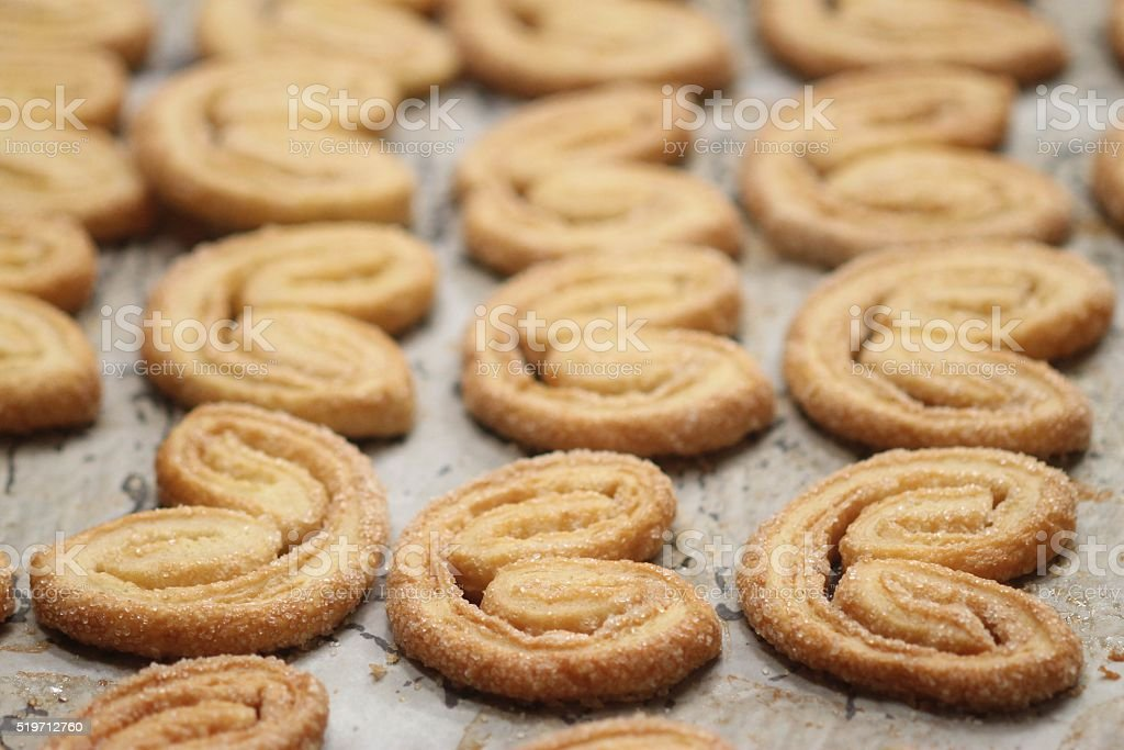 Palmiers on baking pan 2 stock photo