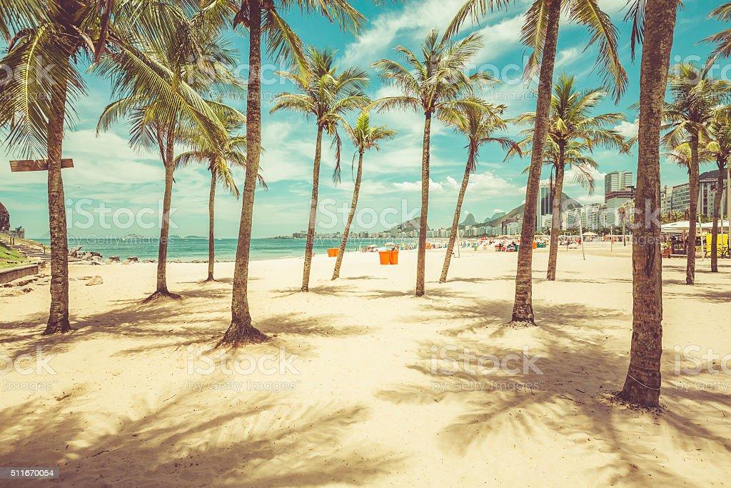 Palms with shadows on Copacabana Beach ,Rio de Janeiro stock photo