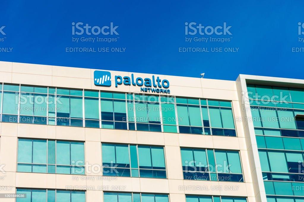 Palo Alto Network headquarters exterior under blue sky. Palo Alto Networks, Inc. is a network and enterprise security Palo Alto Network headquarters exterior under blue sky. Palo Alto Networks, Inc. is a network and enterprise security - Santa Clara, CA, USA - 2020 Building Exterior Stock Photo