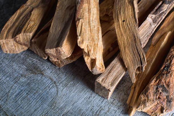 palo santo wood sticks closeup stock photo