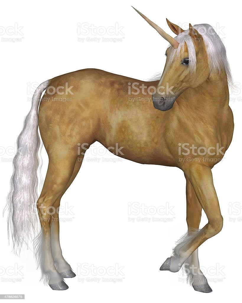 Palomino Unicorn - Turning stock photo