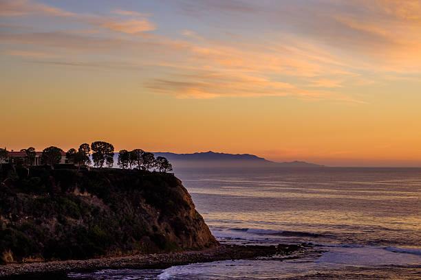 Palos Verdes and Catalina Island at dusk stock photo