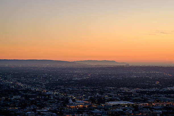 Palos Verdes and Catalina Island - from Griffith Observatory stock photo