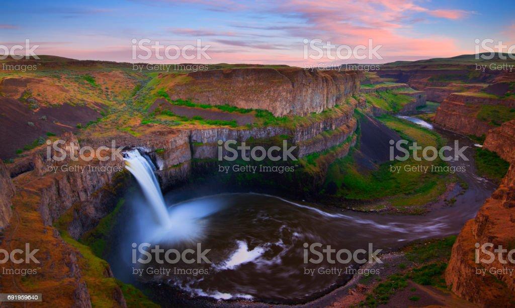 Palouse Falls at Sunset stock photo