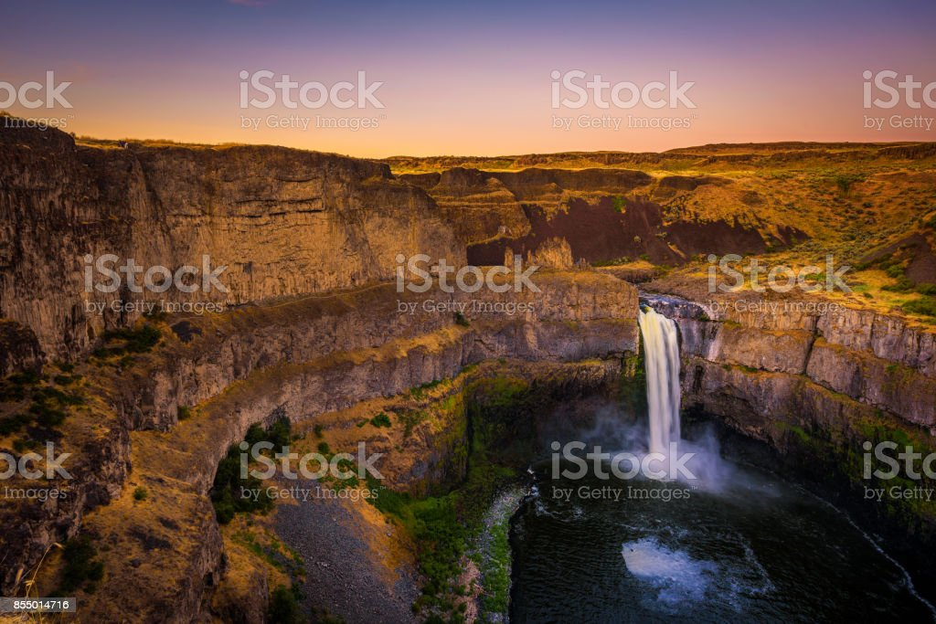 Palouse Falls in Washington state, USA, photographed at sunset stock photo