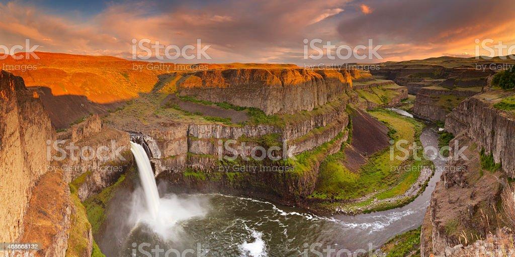 Palouse Falls in Washington, USA at sunset stock photo