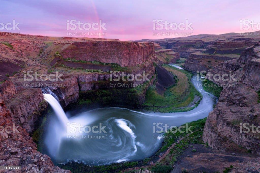 Palouse Falls Rainbow stock photo