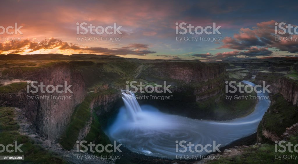 Palouse Falls sunrise stock photo