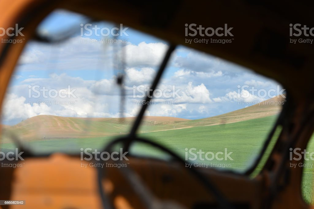 Palouse Hills from the Cracked Windshield royalty-free stock photo