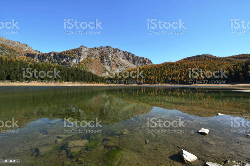 Palu lake in autumn - Mountains of Valmalenco, Valtellina, Italy stock photo