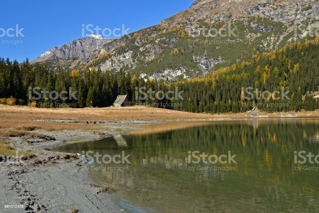 Palu lake in autumn - Valmalenco, Valtellina, Italy stock photo