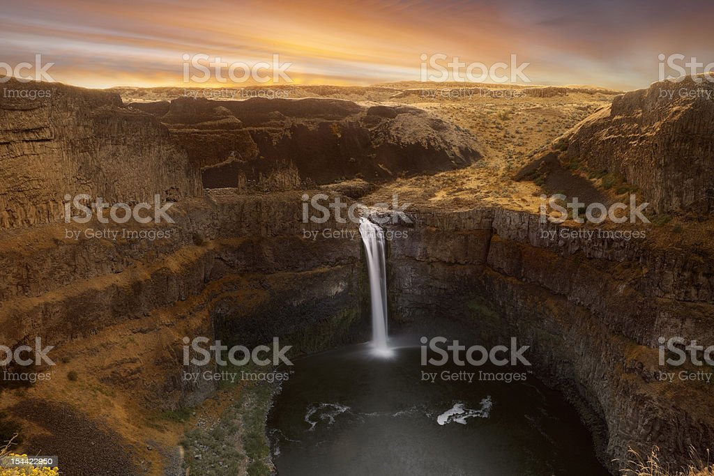 Paluose Falls Sunrise stock photo