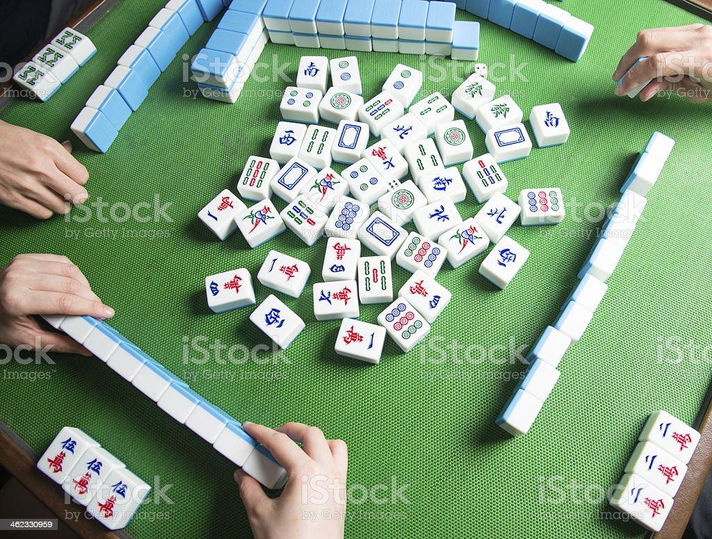 palying mahjong stock photo