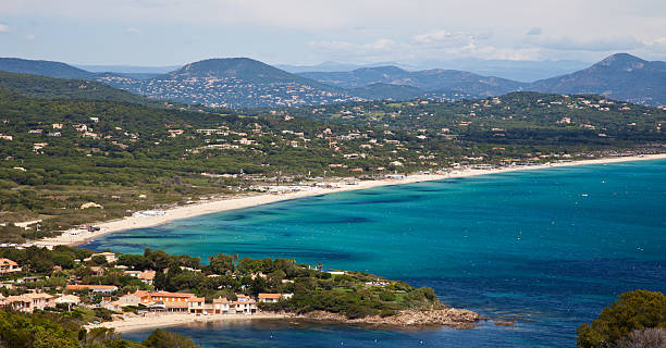 Pampelonne beach - St. Tropez View over Pampelonne beach near St. Tropez, Southern France var stock pictures, royalty-free photos & images