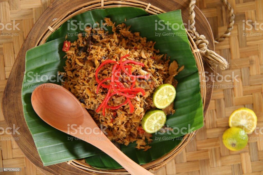 Pampis Ikan Tongkol, Traditional Dish of Spicy Fish from Manado stock photo
