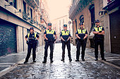 Pamplona Navarra Spain July 12 2015 S Firmino fiesta police stop the bulls runners before the race start. ENCIERRO is a deeply rooted celebration start every year from 6 July with pyrotechnic CHUPINAZO until14 July